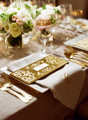 Gold Velvet Name Card With Monogram Napkin At Reception