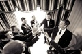 Black and white photo of Steve Finley and groomsmen