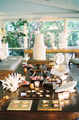 Wood table topped with cupcakes and seashells