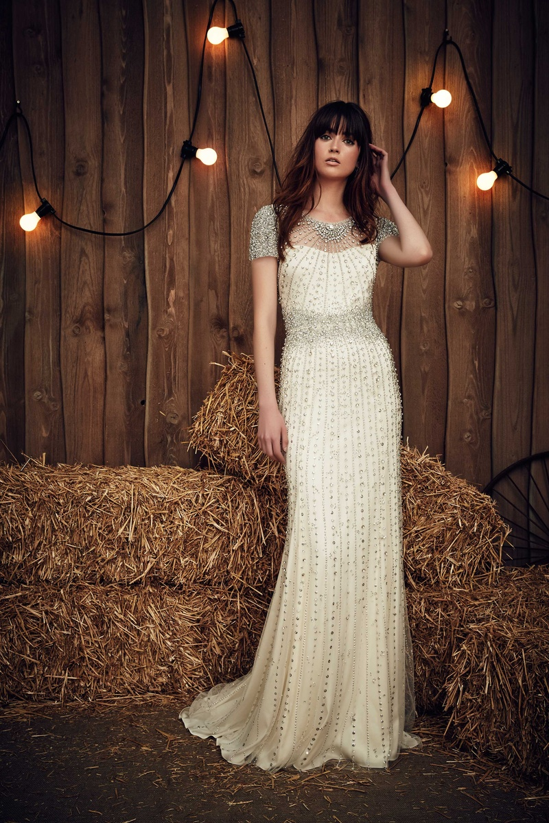 Jenny Packham 2017 Bridal Collection Dallas Short Sleeve Heavily Beaded Wedding Dress
