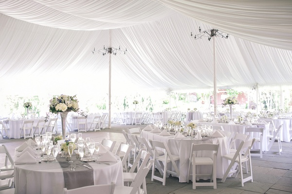 ... White tent with grey runners and silver vessels ... & Alfresco Ceremony + Romantic Tented Reception in New Jersey ...