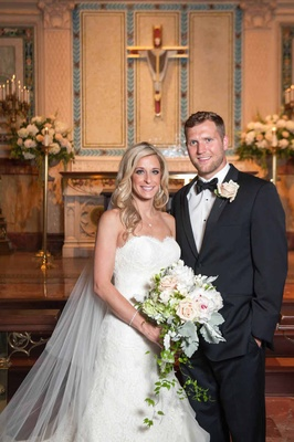 NFL player with bride in Isabelle Armstrong dress