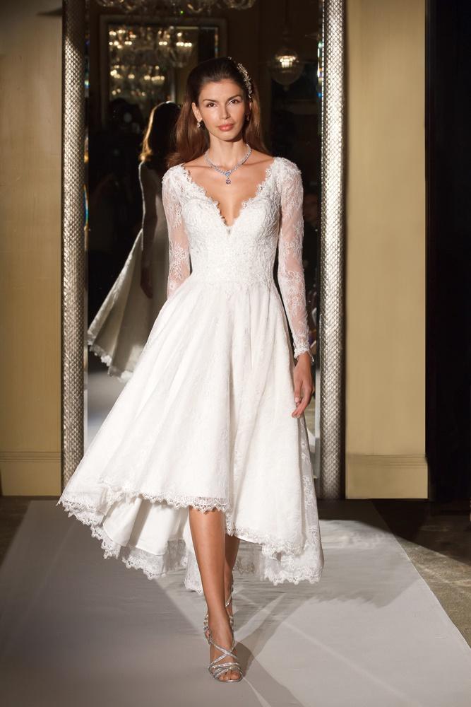 Wedding dresses photos cwg770 by oleg cassini inside for Long sleeve high low wedding dresses