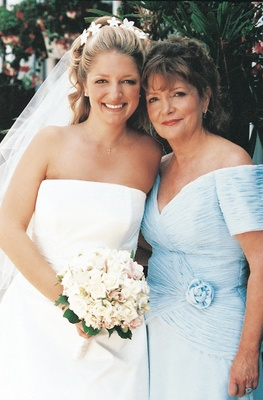 Bride and her mom on wedding day