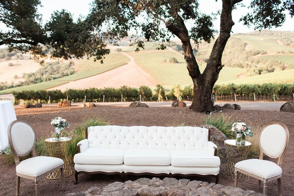 white lounge space winery venue rustic chic wedding northern california cocktail hour reception idea