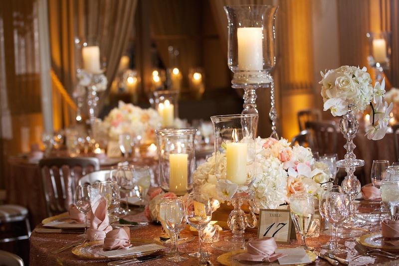 Reception D 233 Cor Photos Pillar Candles In Crystal Holders