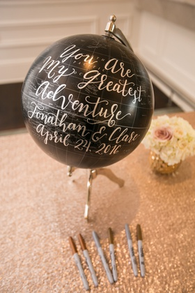 creative guest book, black globe for guest book, gold and silver sharpies for guests to sign