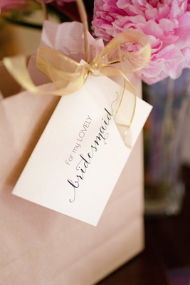 Gift bag with tag for bride's lovely bridesmaid