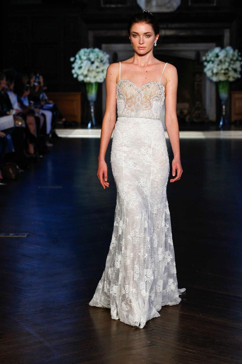 a91a8e923672 Alon Livné White Fall 2016 spaghetti strap lace wedding dress with column  skirt.