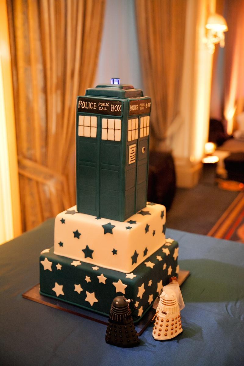 Doctor Who police box tardis groom's wedding cake with star designs