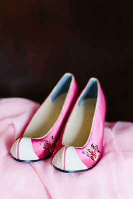 pink satin shoes with rose applique