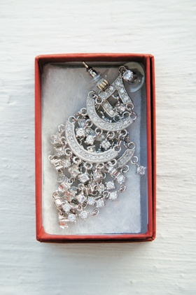 Hollywood glam bridal jewelry in red box