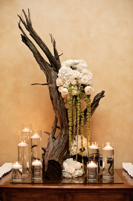 Wedding place card table decorated with a bare branch, white hydrangeas and roses, green amaranthus