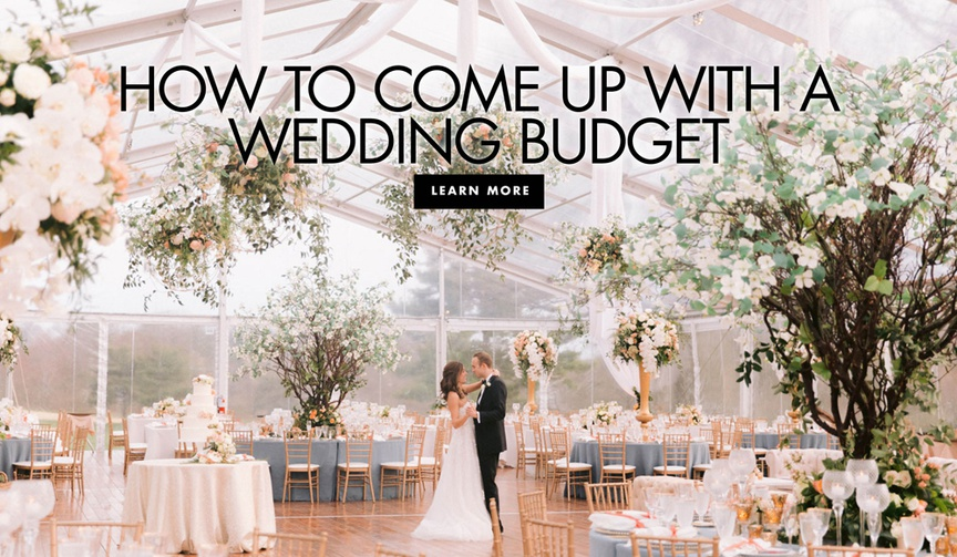 bride and groom in empty wedding reception tent, how to figure out your wedding budget