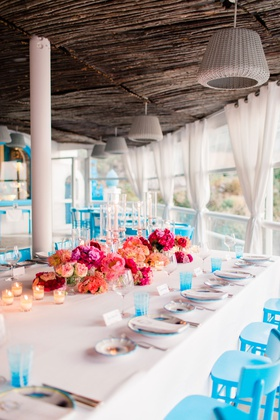 destination wedding in capri, italy, bright florals and chairs