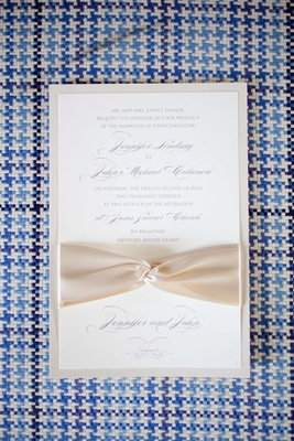 Wedding invitation with ivory ribbon for John Colaneri's wedding
