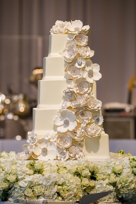 wedding cake five square layers white sugar flower cake topper cascading down layers
