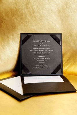 Black invitation with glass enclosure on inside
