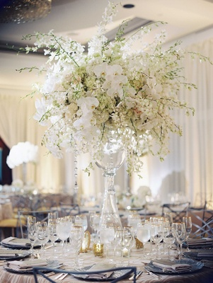 Wedding reception classic glass vase topped with white orchid, white rose, white hydrangea flowers