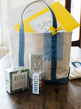 Wedding guest gift bag tote blue white detox toffee branding palm motif yellow envelope and ribbon