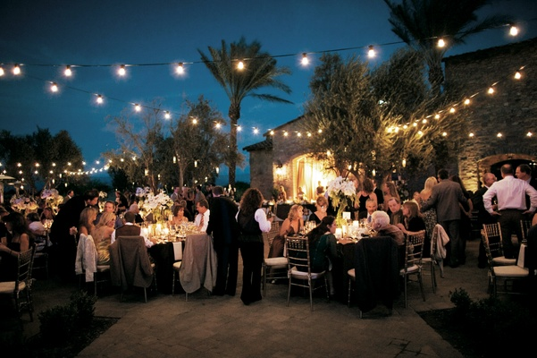 Country club wedding with outdoor Italian string lights