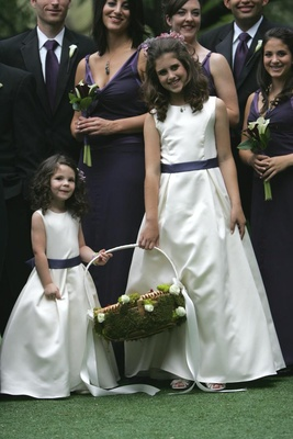 White and purple flower girl dresses