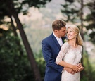 Bride and groom photo in forest Northern California