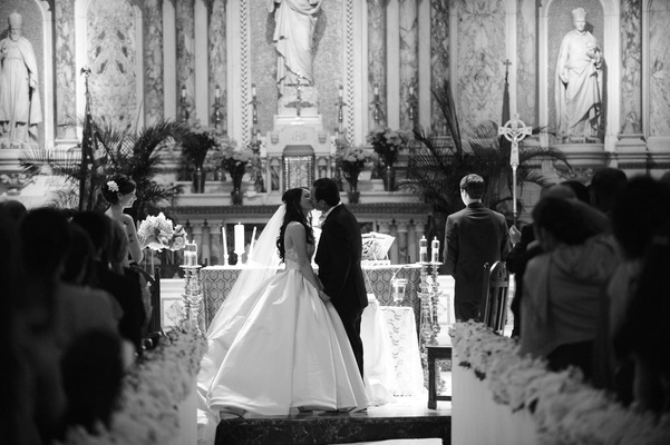 Black and white photo of Gesu Catholic Church wedding