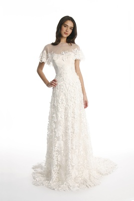 short sleeved chiffon wedding dress
