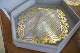 wedding invitation in velvet six sided hexagon box with gold invitation crystal lucite acrylic