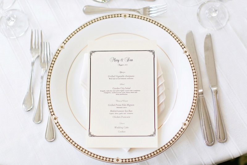 Reception Décor Photos - Gold-Rimmed Place Setting - Inside Weddings