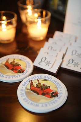 Personalized wedding drink coaster and matches box