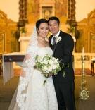 bride groom pose catholic church long traditional veil necklace tuxedo tie wedding california