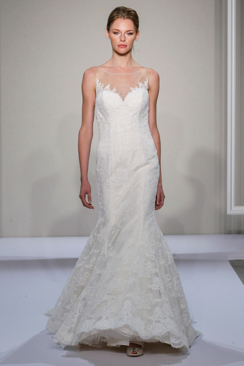 Dennis Basso 2016 sleeveless Alencon lace wedding dress with illusion neckline