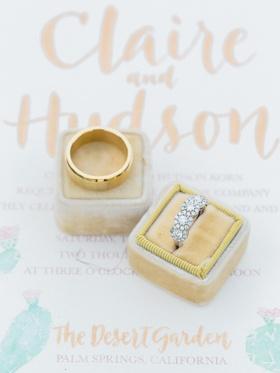 five-stone halo wedding ring, plain yellow gold band