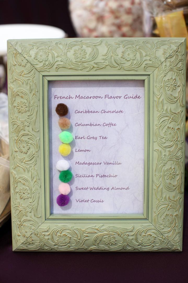 Colorful pom pom dessert menu for French macaroons