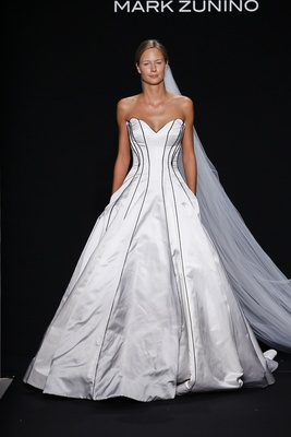 Mark Zunino for Kleinfeld 2016 strapless satin ball gown with black piping