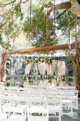 calamigos ranch wedding, outdoor wedding with waterfall, chuppah under wooden structure