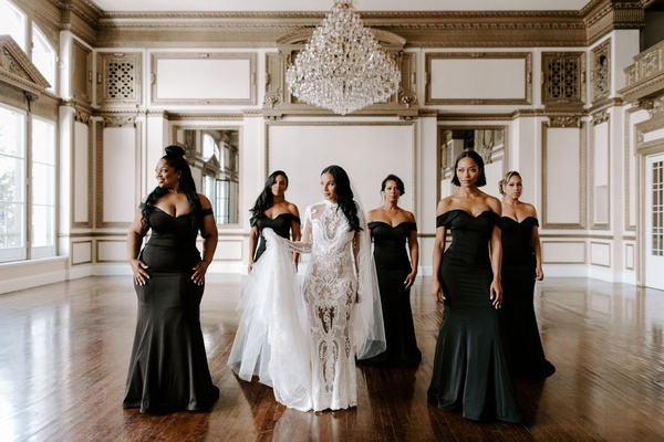 may queen inc bridesmaid gowns, black off-the-shoulder dresses, Zena Foster wedding