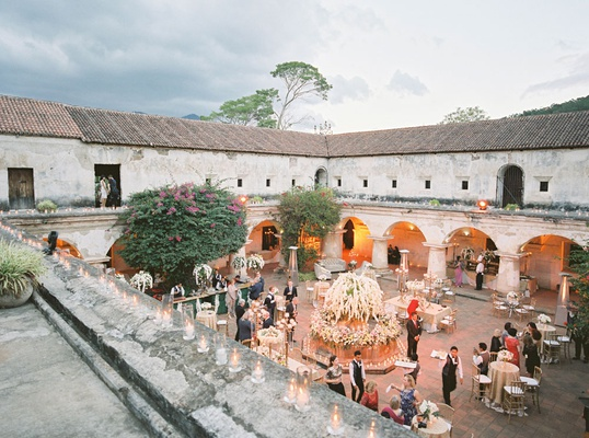 wedding venue antigua guatemala welcome reception outdoor courtyard under stars ruins