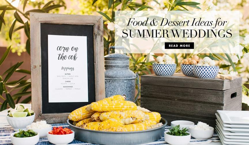 Five food and dessert ideas for summer weddings corn on cob ice cream sandwich potato salad smoothie