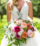 wedding bouquet hot pink peach garden rose mum orange greenery white flowers