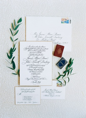 Fancy wedding invitation suite calligraphy for reply card invite envelope and return envelope