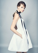 ROMONA New York Spring 2018 collection short strapless gown of spanish mikado