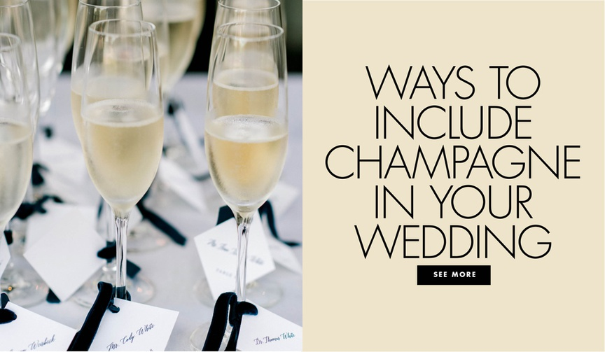 ways to include champagne and sparkling wine and rose into your wedding decorations