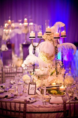 Glamorous wedding reception flower arrangement