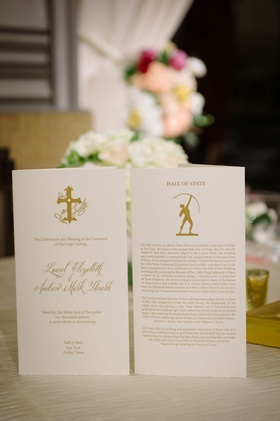 Wedding ceremony program white stationery with gold writing and motif calligraphy details hall state