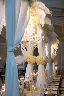 head table structure chandelier feathers north carolina wedding crystals blue glam inspiration