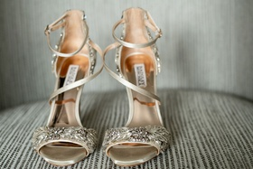 badgley mischka shoes champagne silk shoes crystal toe and ankle strappy sandals