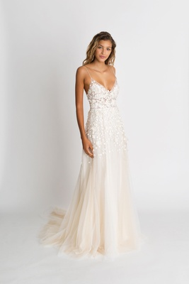 "Alexandra Grecco fall winter 2018 ""The Magic Hour"" wedding dress Lana spaghetti strap v neck sheath"
